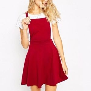 ASOS Pinafore Dress in Merlot